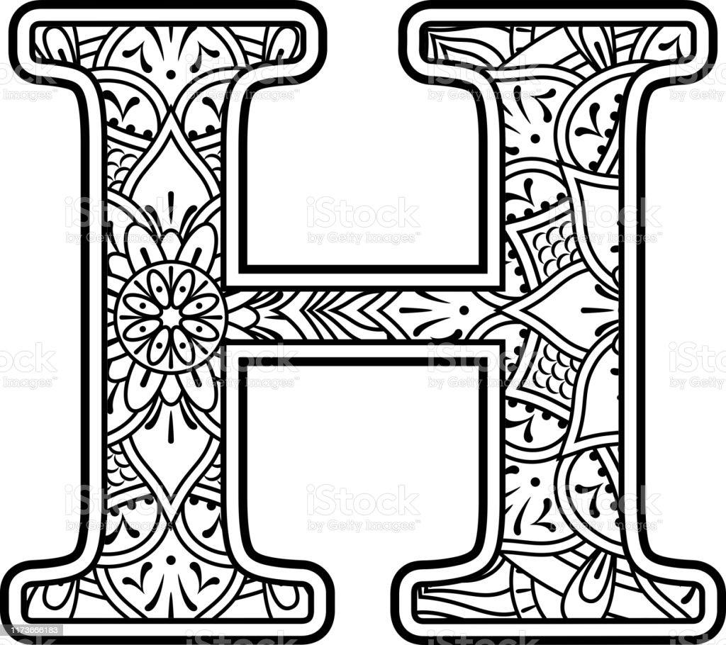 mandala coloring letter h stock illustration