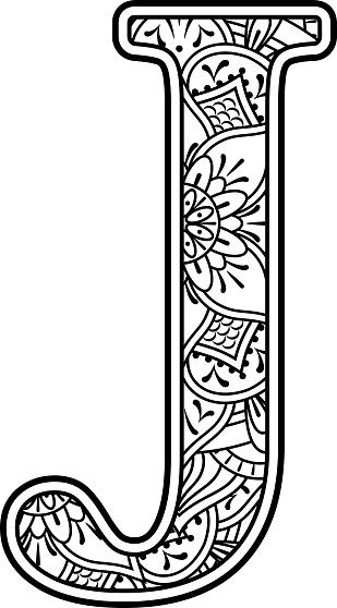Ilustración de Mandala Arte Para Colorear Letra J y más ...