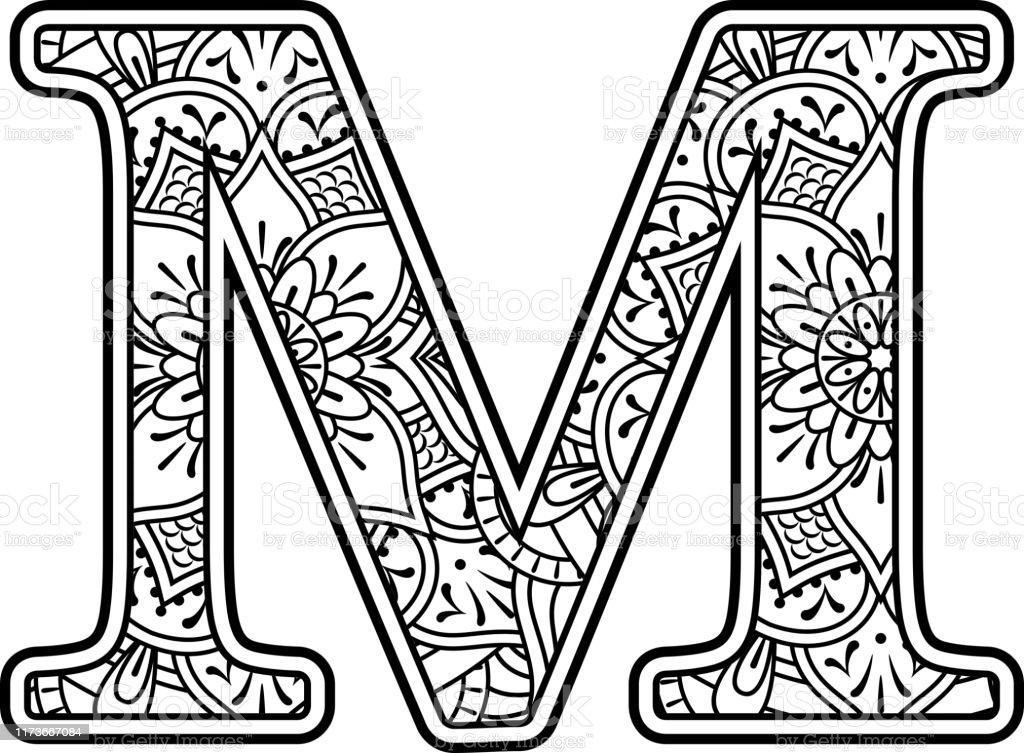 Ilustración de Mandala Arte Para Colorear Letra M y más ...