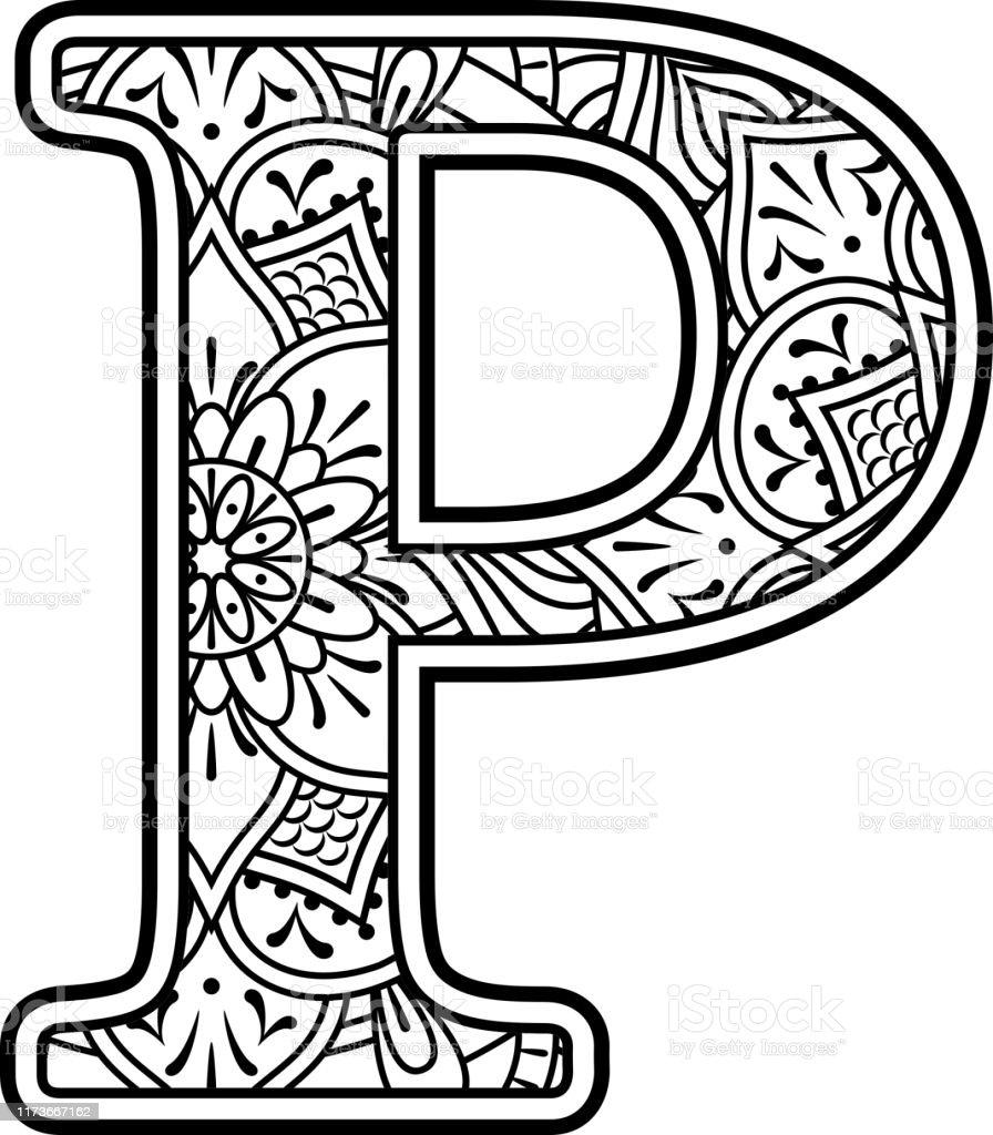 ilustración de mandala arte coloreando letra p y más
