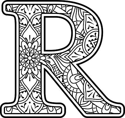 mandala kunst kleurplaten letter r stockvectorkunst en