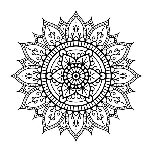 stockillustraties, clipart, cartoons en iconen met mandala art line - hennatatoeage
