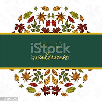 istock MAndala autumn leaves ornaments background, Hello Autumn greeting card 1280504090