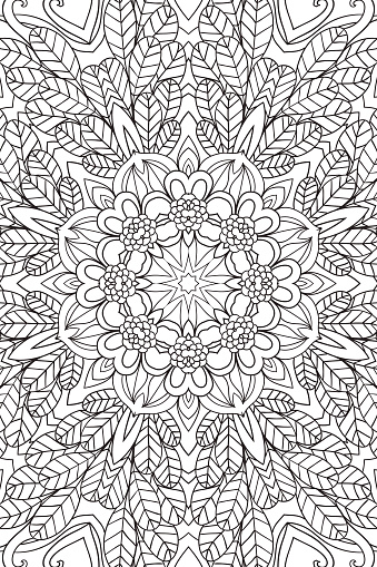 Mandala background. Ethnic decorative elements. Hand drawn . Coloringg book for