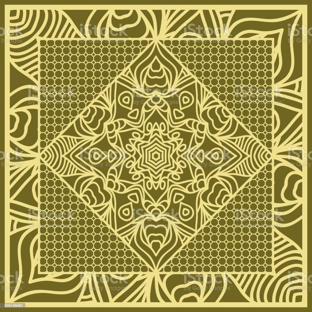 Fondo De Mandala Patrón Geométrico Con El Marco De Encaje Adornado ...