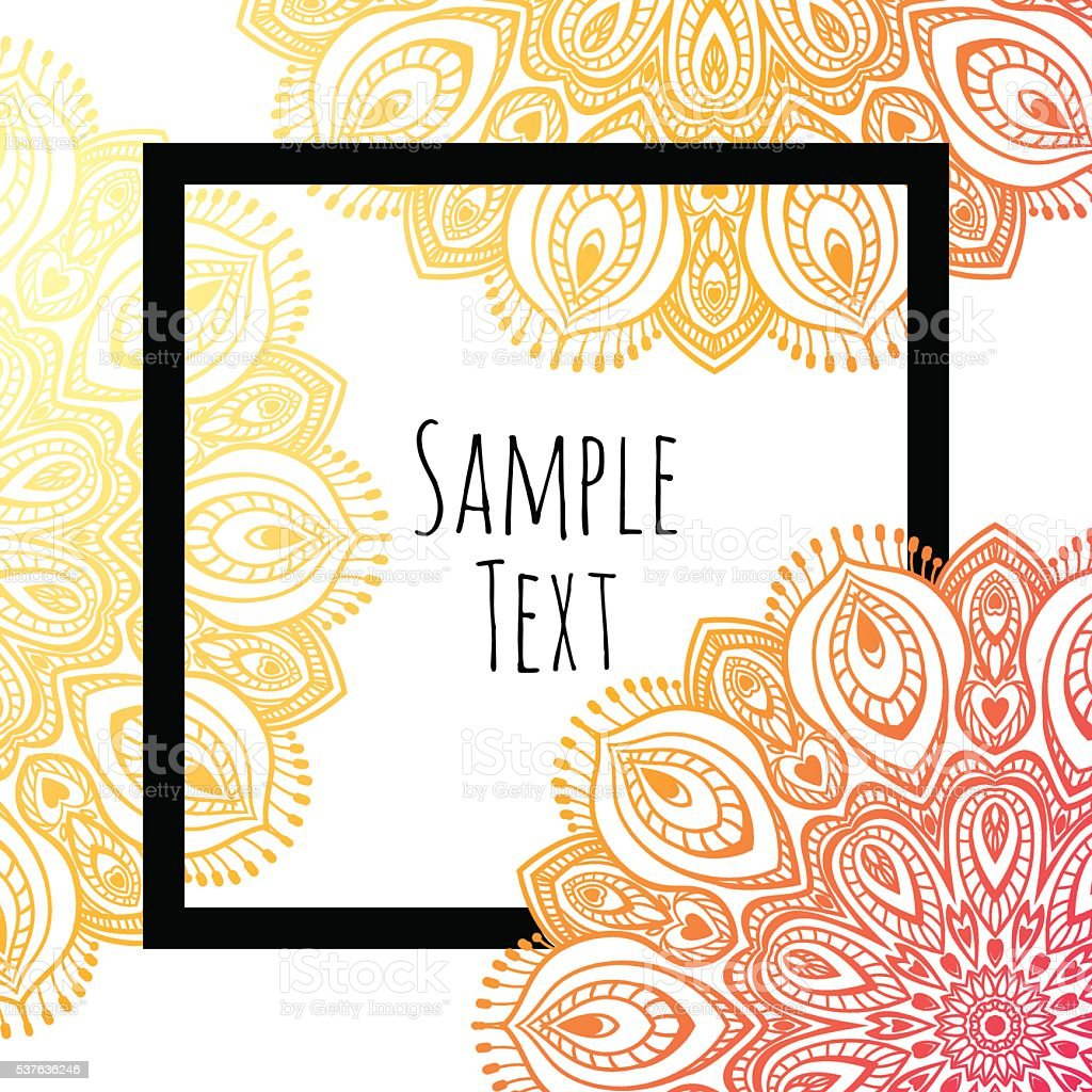 Mandala background, with black border. vector art illustration