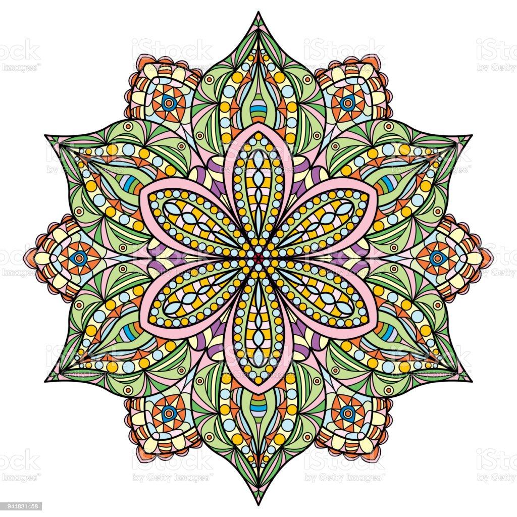 Mandala Schon Bunt Design Orientalische Blumenmuster Stock Vektor