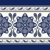 Mandala border indian paisley pattern vector seamless. Arabesque flower medallion motif for fabric or wallpaper. Vintage floral ornament print. Ethnic design for women scarf, clothing or blanket.