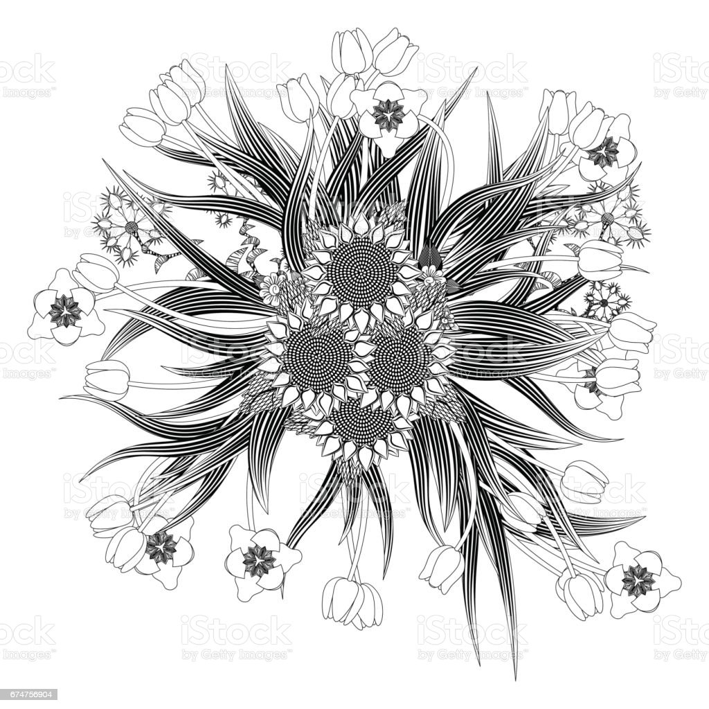 Mandala Bouquet Of Tulips And Sunflowers Wildflowers Stock Vector ...