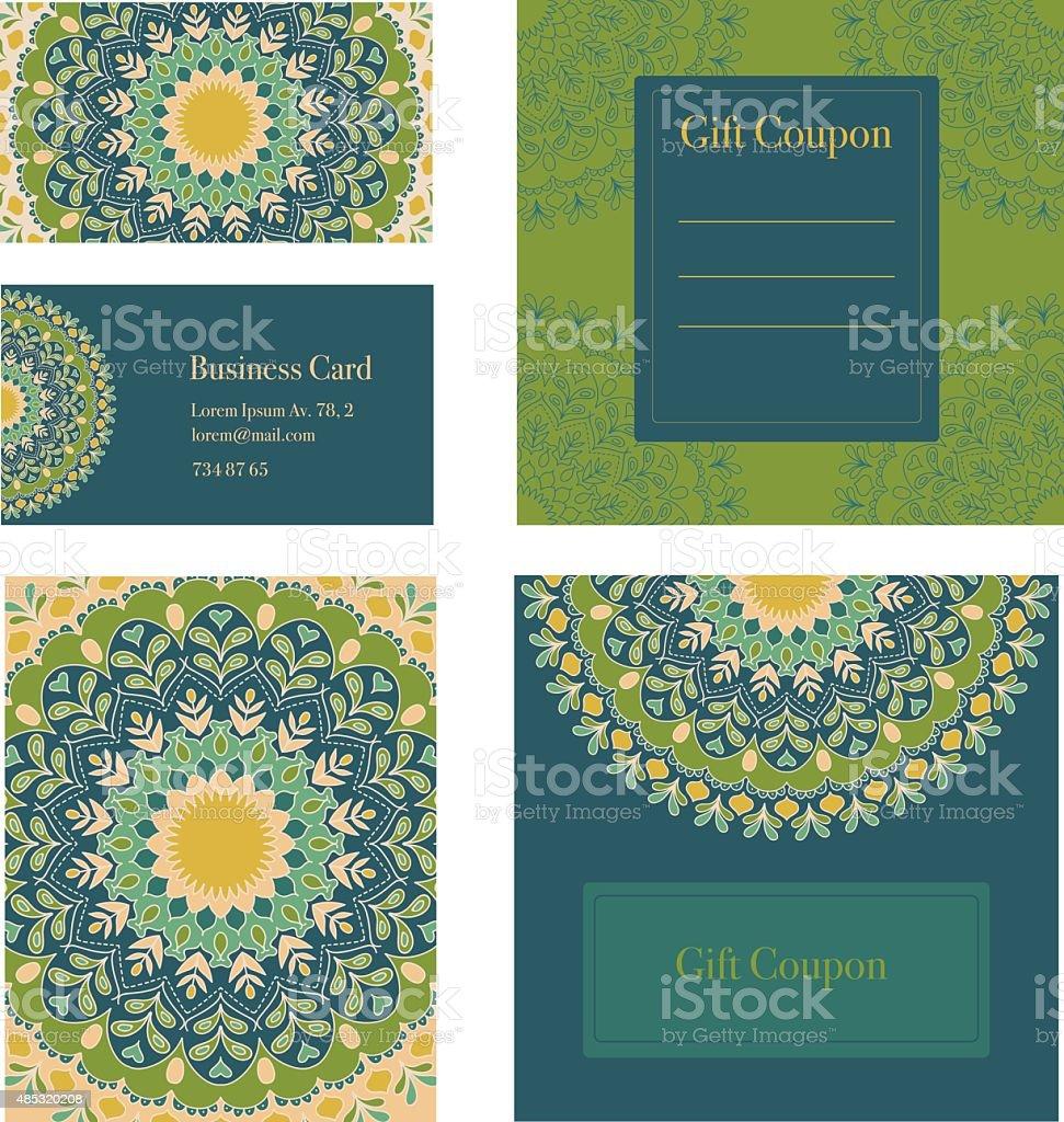 Mandala trabalho conjunto. Cartões de convite, cupom, oferta, cupom de presente. - ilustração de arte em vetor