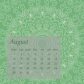 Mandala Calendar August 2016.