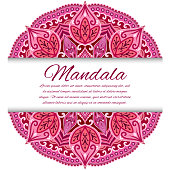 Mandala card or invitation. Red Wedding