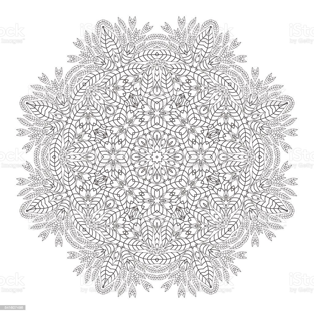 Mandala Christmas Wreath Coloring Page Monochrome Oriental Pattern ...