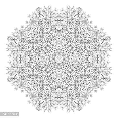 Mandala Christmas Wreath Coloring Page Monochrome Oriental Pattern Vector Illustration Stock Art More Images Of Abstract 541607496