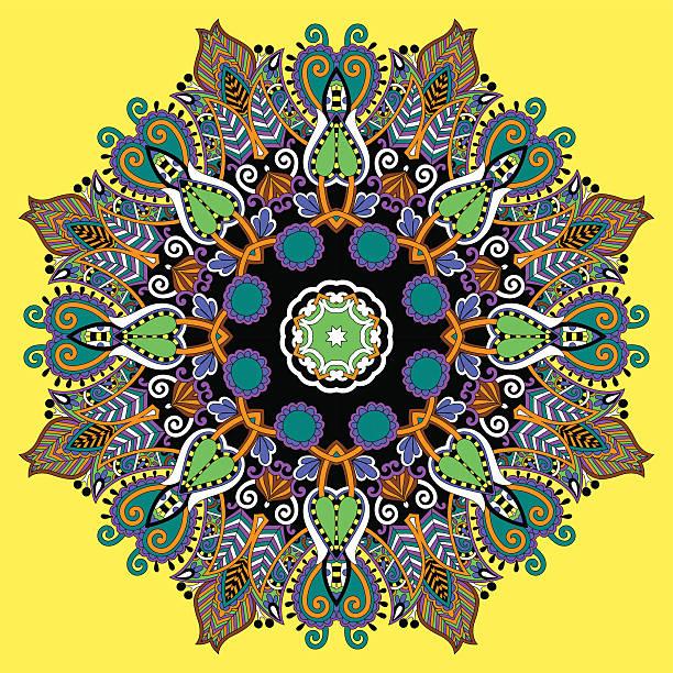 """mandala, circle dekorative spirituellen indischen symbol des lotus """"flow"""" - mantra stock-grafiken, -clipart, -cartoons und -symbole"""