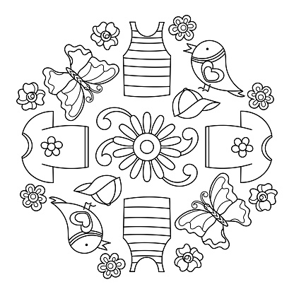 Mandala coloring book for kids. Summer coloring book with T-shirts, baseball caps, birds and flowers . Vector illustration