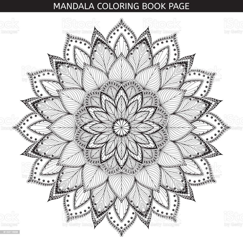 Mandala Boyama Kitabı Sayfaları Hint Antistress Madalyon Beyaz Arka
