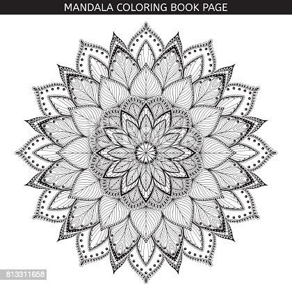 Mandala. Coloring book pages. Indian antistress medallion. Abstract islamic flower, arabic henna design, yoga symbol. White background, black outline. Vector illustration.