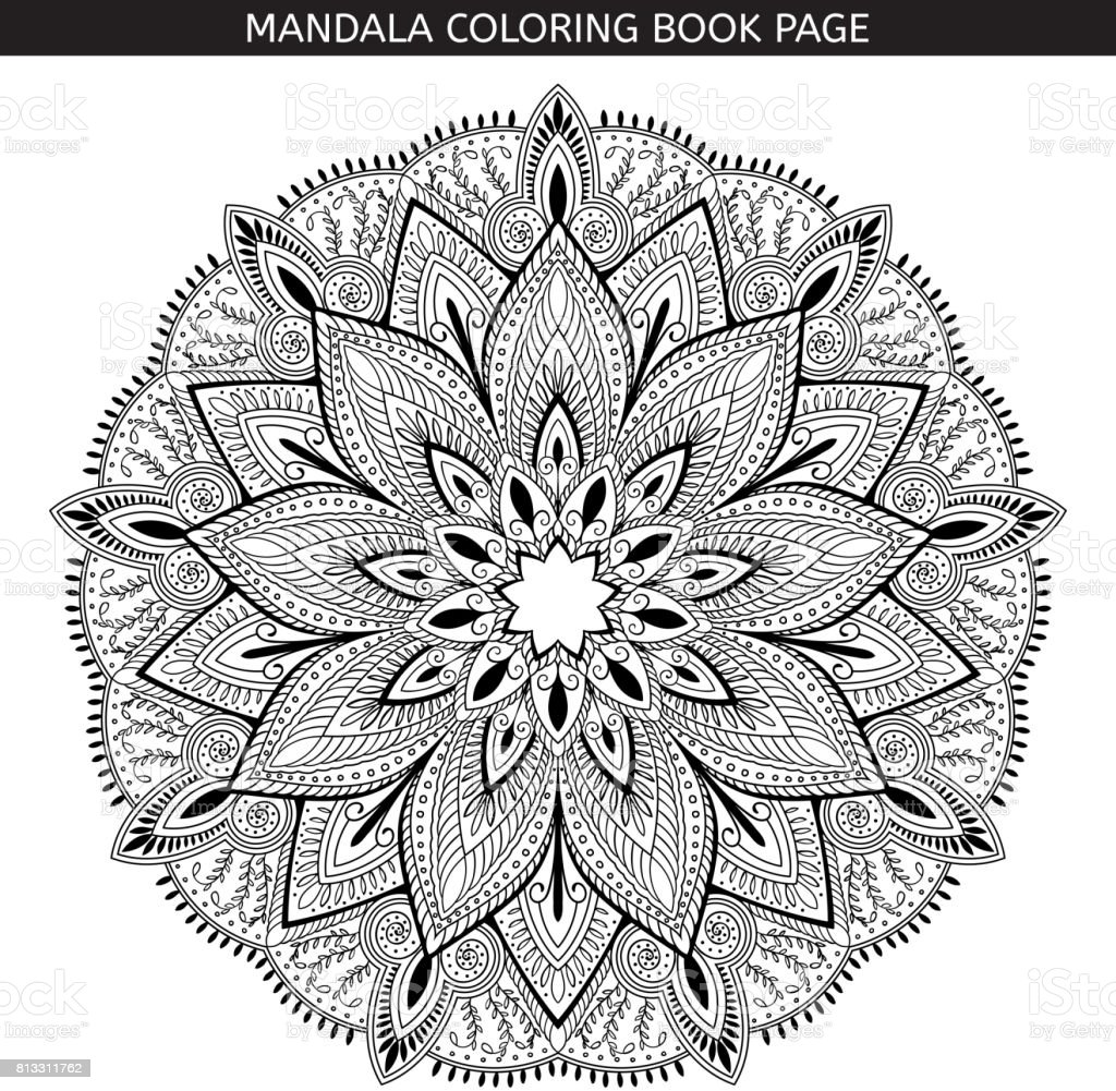 Mandala Coloring Book Pages Indian Antistress Medallion White Background Black Outline