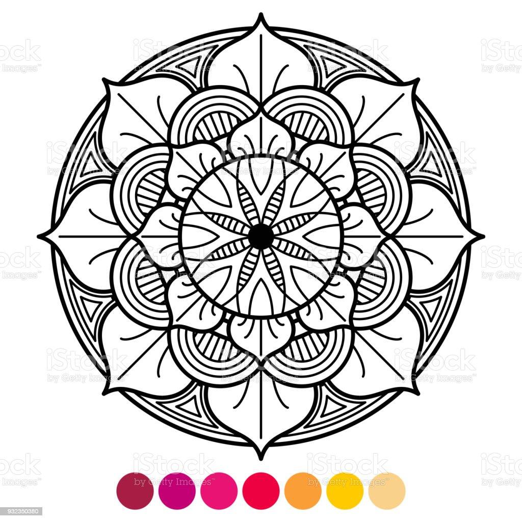 Coloriage Mandala Couleur.Coloriage De Mandala Pour Adultes Anti Stress Avec Lechantillon De