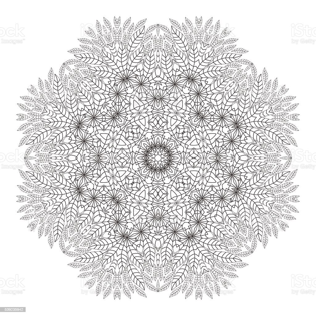 Mandala. Coloring page. Monochrome oriental pattern, vector illustration. royalty-free mandala coloring page monochrome oriental pattern vector illustration stock vector art & more images of abstract