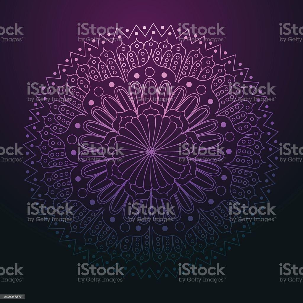 Mandala decoration on purple background vector illustration vector art illustration