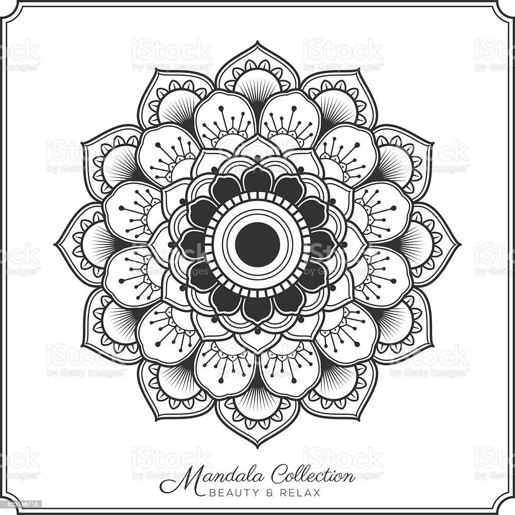 mandala decorative ornament design for coloring page vector art illustration