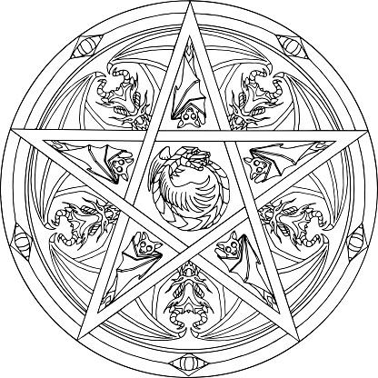 Mandala Dragon Pentagram