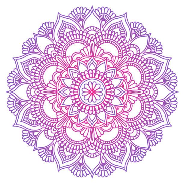 stockillustraties, clipart, cartoons en iconen met mandala. etnische ronde sieraad. hand getrokken indiase motief. mehendi meditatie yoga henna thema. unieke paarse bloemenprint. - hennatatoeage