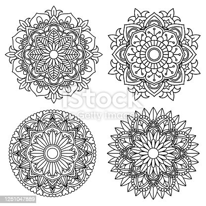 istock Mandala flower for adult coloring book 4 style. 1251047889