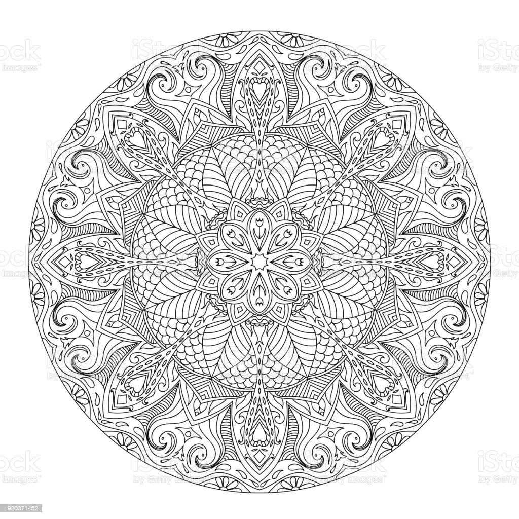 Mandala Für Buch Malvorlagen Stock Vektor Art und mehr Bilder von ...