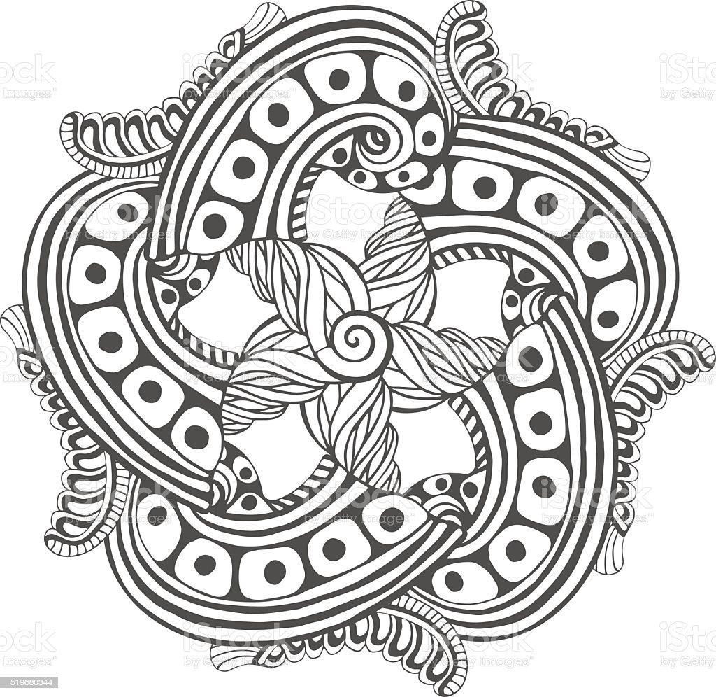 Ilustración De Mandala Para Colorear Libro Páginas Adorno Vector De