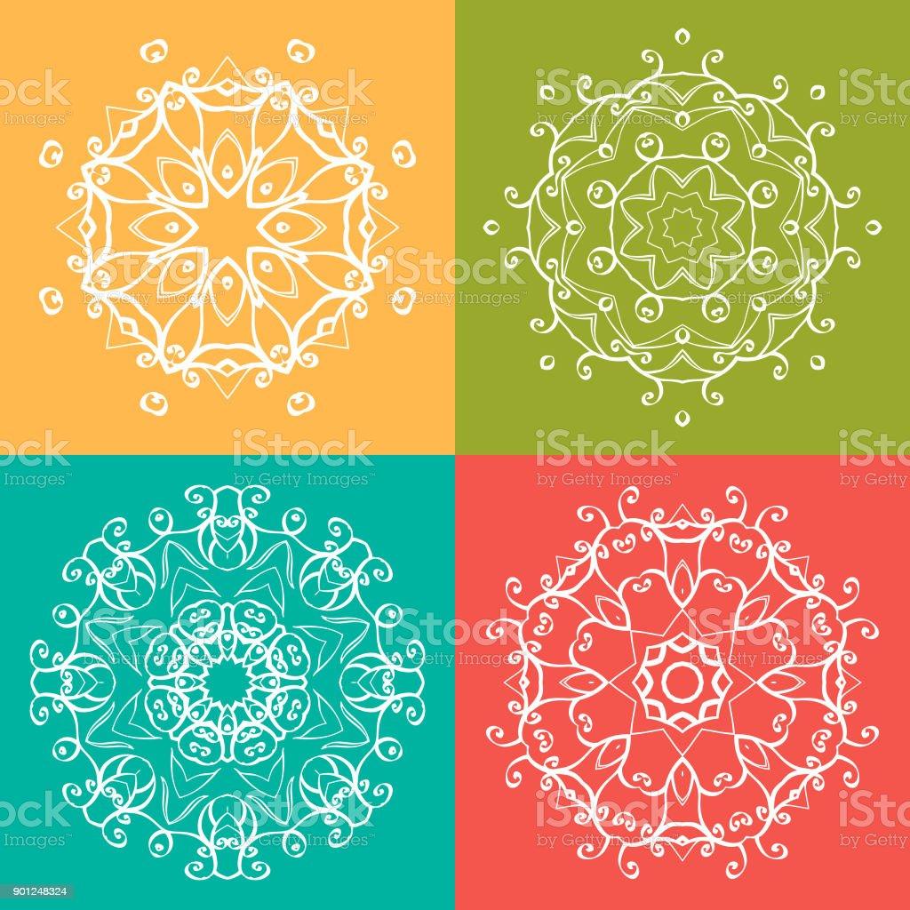 Mandala Boyama Kitabı Deseni Için Beyaz Arka Plan üzerinde Dairesel