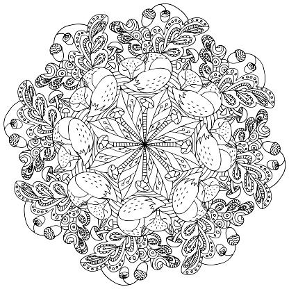 Mandala forest theme fox, leaves and acorns coloring page for children and adults