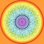 Mandala, geometric sign symbol of the universe, chakra yoga meditation, sketch vector watercolor style