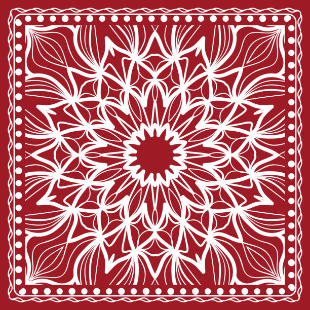 mandala grafischen hintergrund, quadratisches muster mit floralen und geometrischen ornament. vektor-illustration. - chiffon stock-grafiken, -clipart, -cartoons und -symbole
