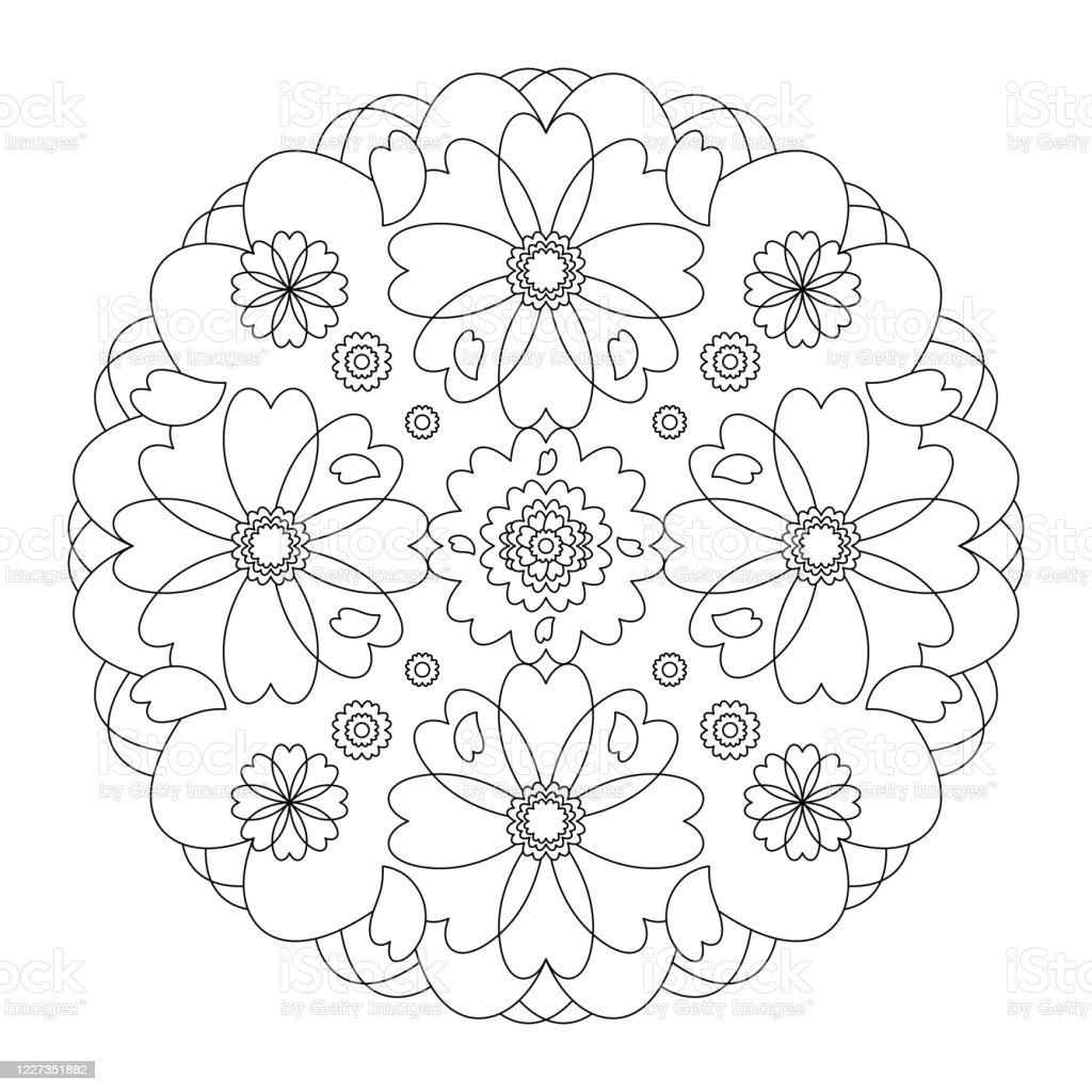 Mandala Hearts Mandala Coloring Page Illustration Vector ...