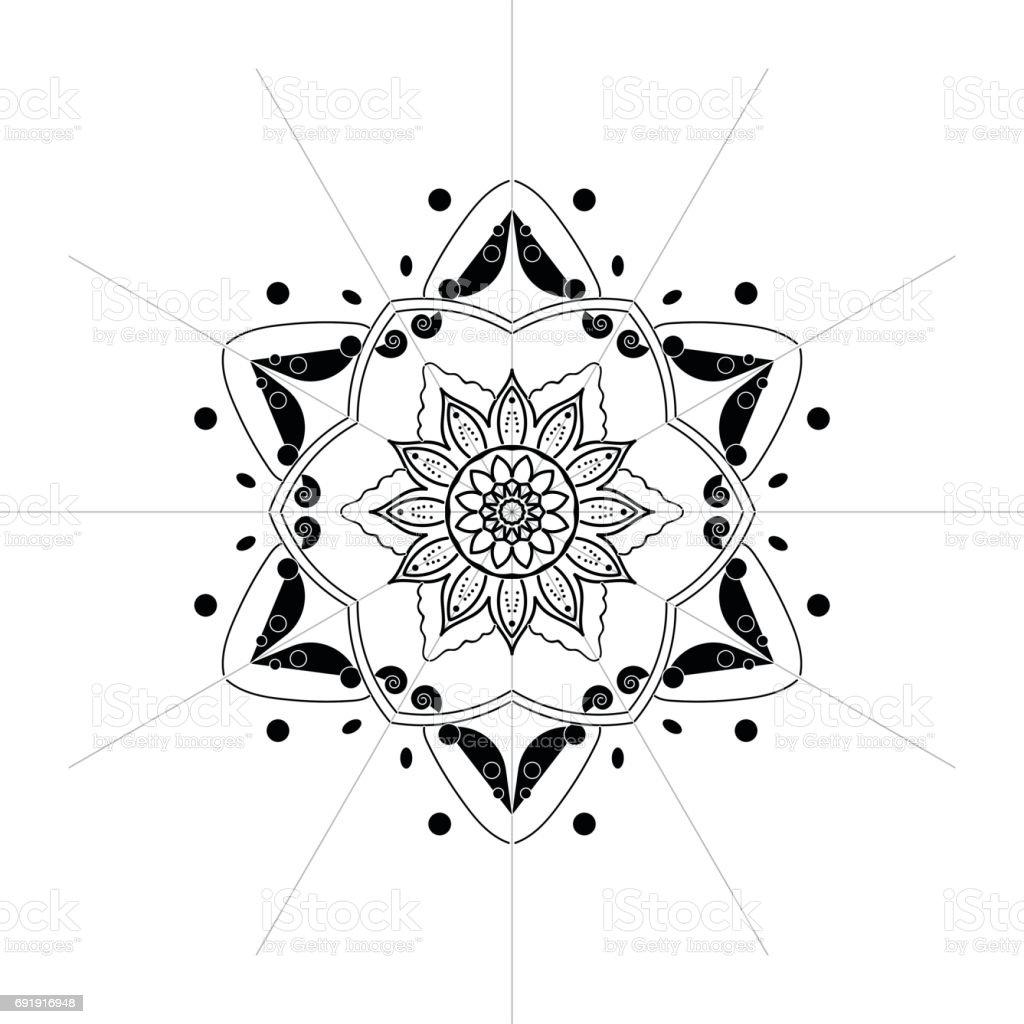 Mandala illustration in black and white vector art illustration