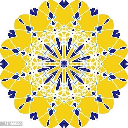 istock Mandala in Azulejo style, Portuguese circular ornament. 1312856090