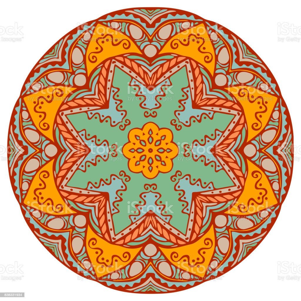 Mandala in beautiful colors for your design. Vector ornament on white background. vector art illustration