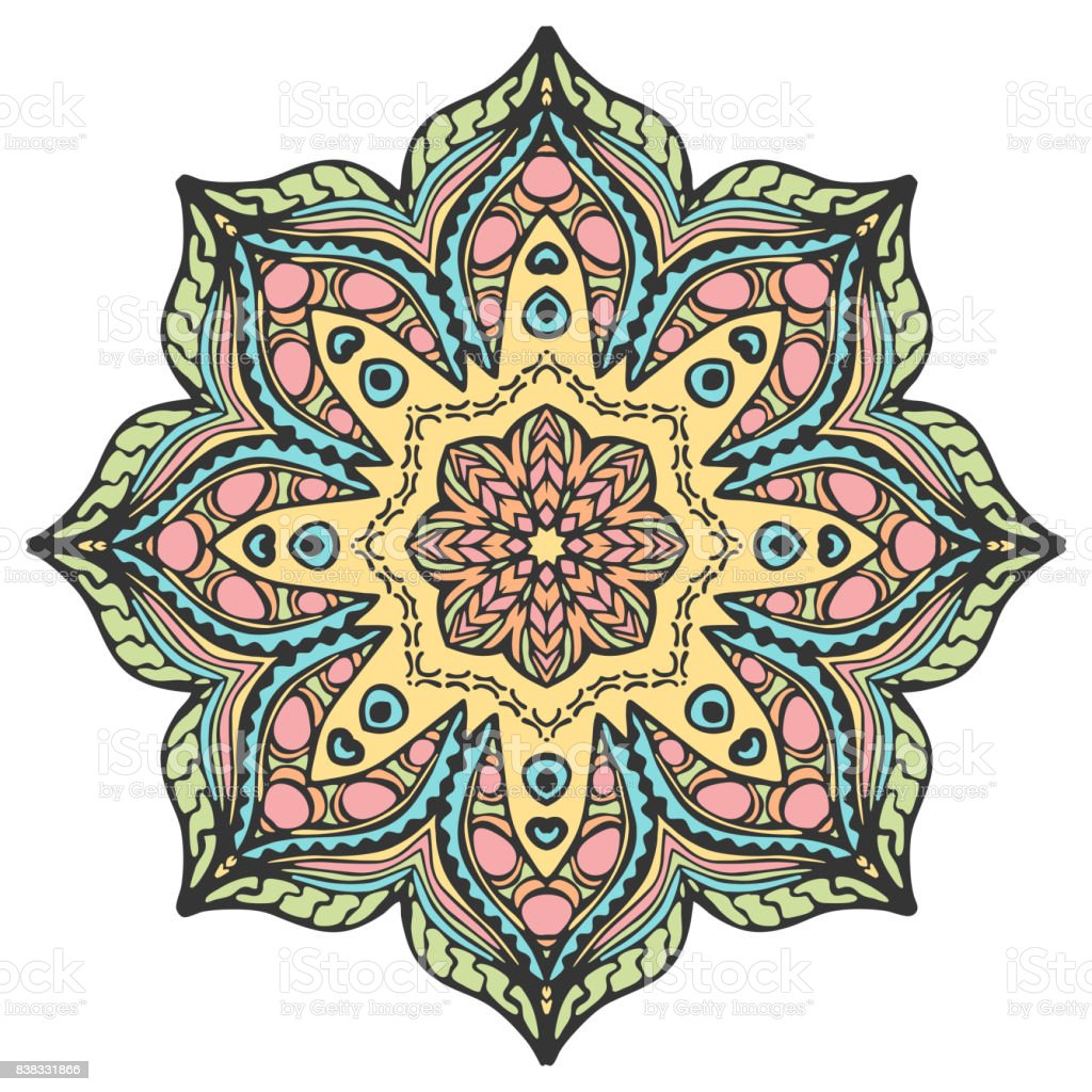Mandala in beautiful colors for your design. Vector ornament vector art illustration