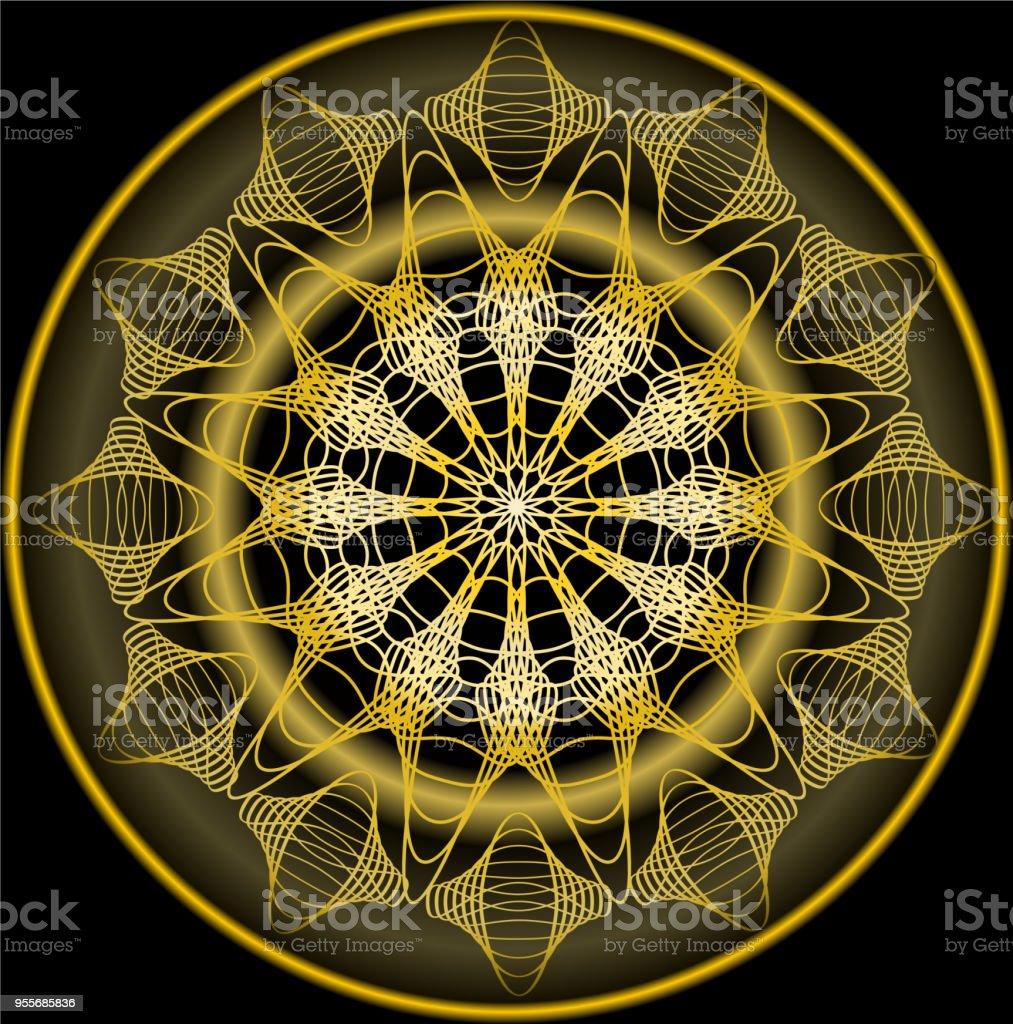Ilustración de Mandala De Oro Para La Obtención De Zen Patrones De ...