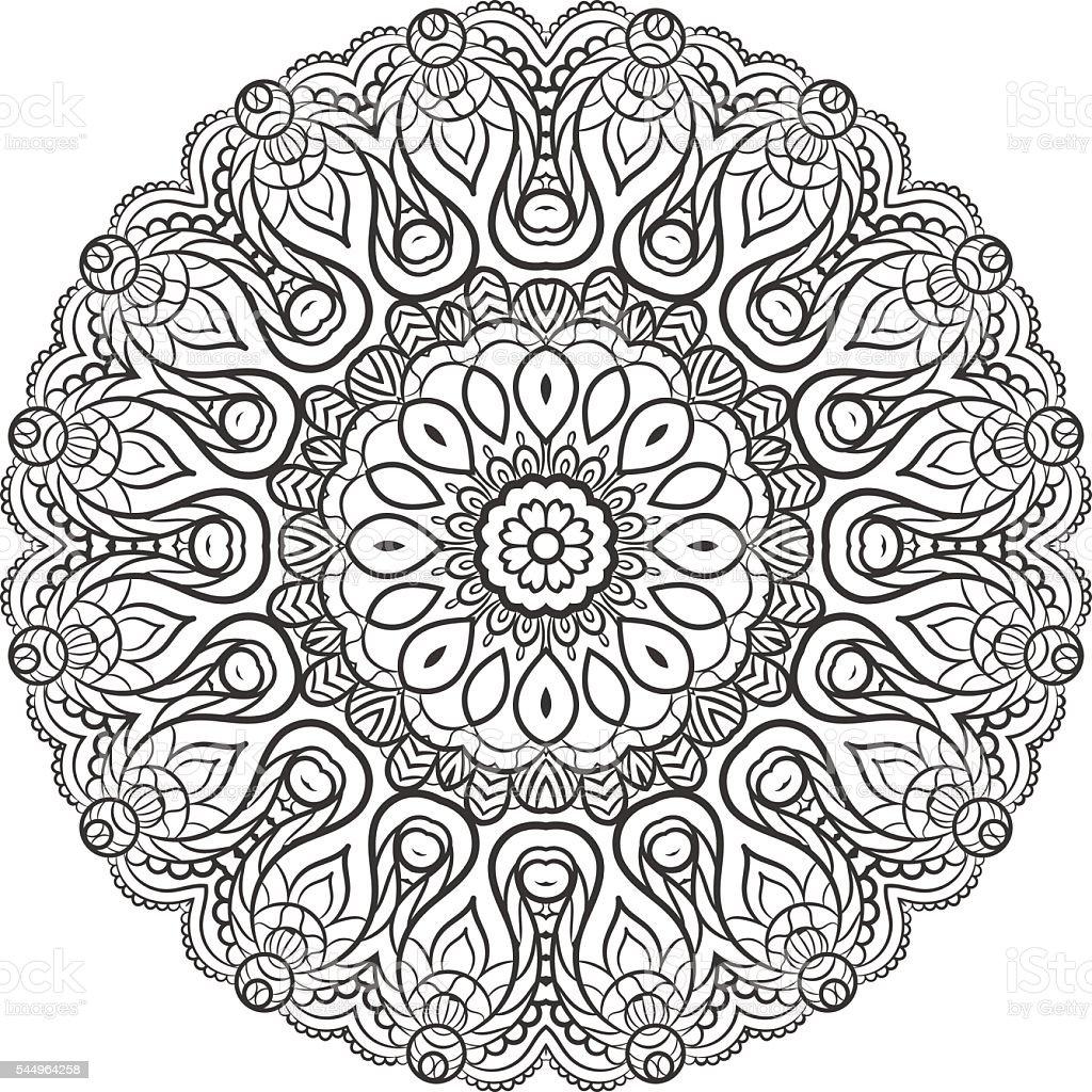 Ilustracion De Mandala En Estilo Indio Y Mas Banco De Imagenes De - Mandalas-indios
