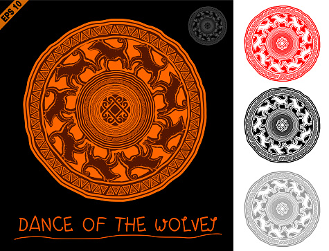 Mandala in primitive, ethnic style rock cave figure with animal ornament of the wolves