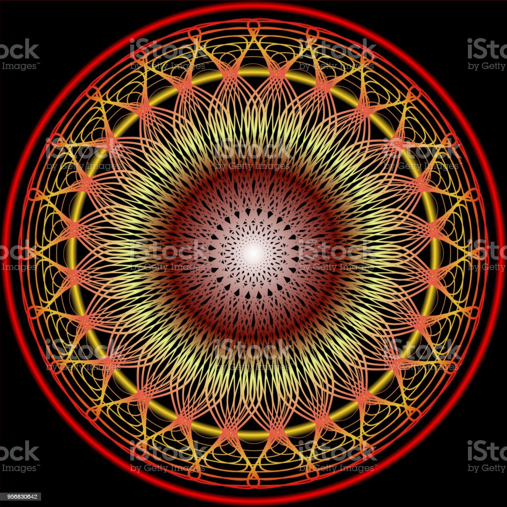 Ilustración de Mandala En Colores Cálidos Para La Obtención De ...