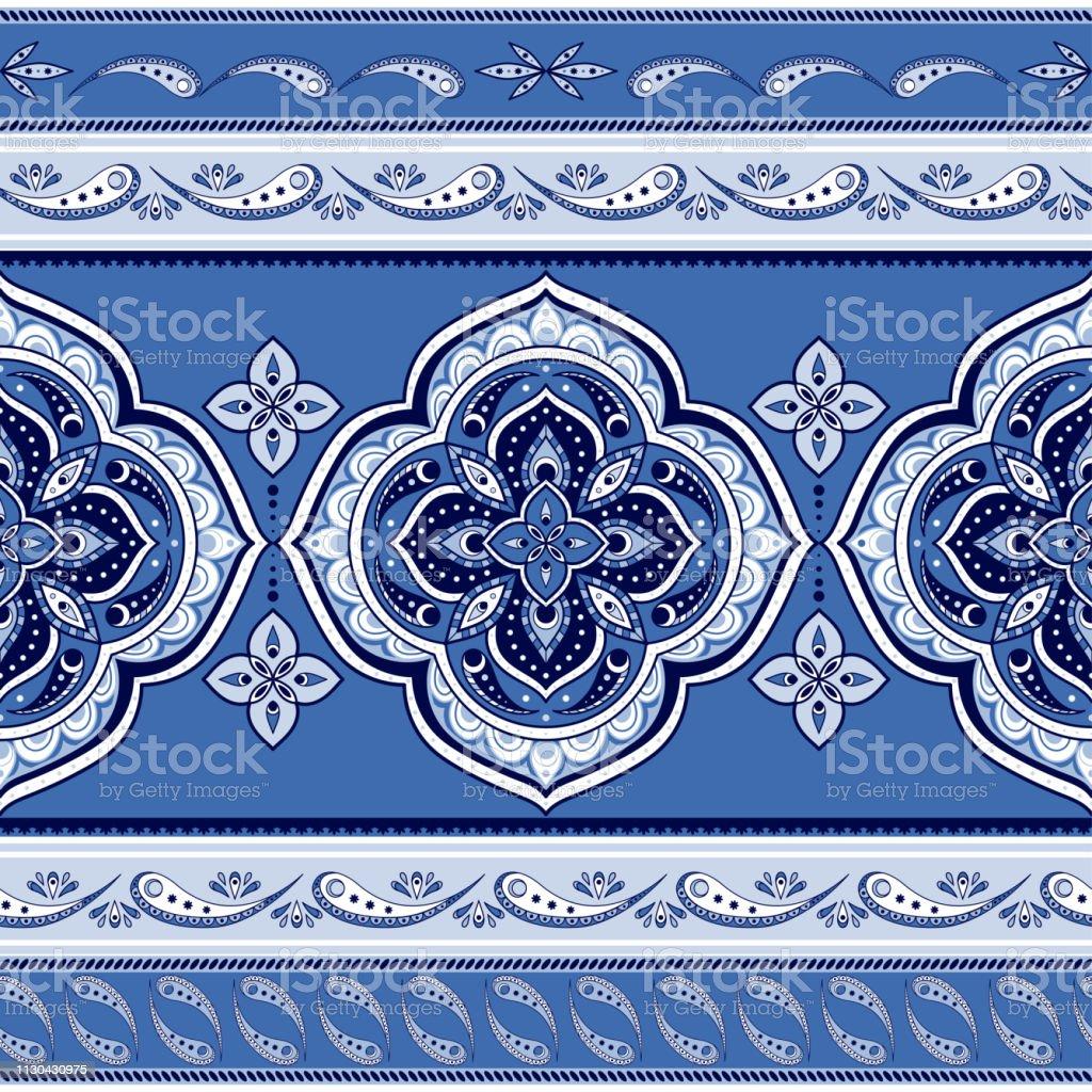 Mandala Indian Paisley Pattern Vector Seamless Border Floral