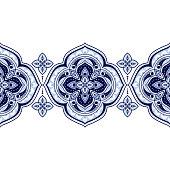 Mandala indian paisley pattern vector seamless border. Floral medallion motif for fabric or wallpaper. Vintage flower ethnic ornament print. Oriental design decoration for boho home textile.