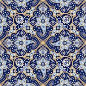 Mandala indian paisley pattern vector seamless. Floral arabesque medallion motif print. Ethnic vintage flower ornament background. Damask texture design for muslim scarf, curtain, wallpaper, blanket.