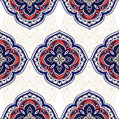 Mandala indian paisley pattern vector seamless. Flower medallion motif print. Boho ethnic ornament for batik. Arabesque design for wallpaper, woman scarf, curtain textile, gypsy carpet, blanket.