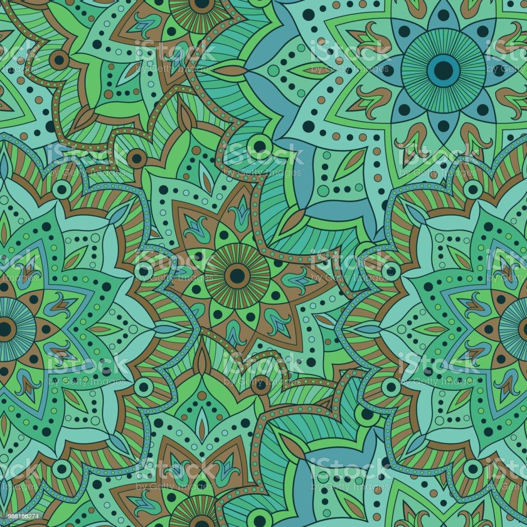 mandala indischen muster nahtloser vektor fr die verpackung papier stoff oder tapete orientalische - Tapete Orientalisches Muster